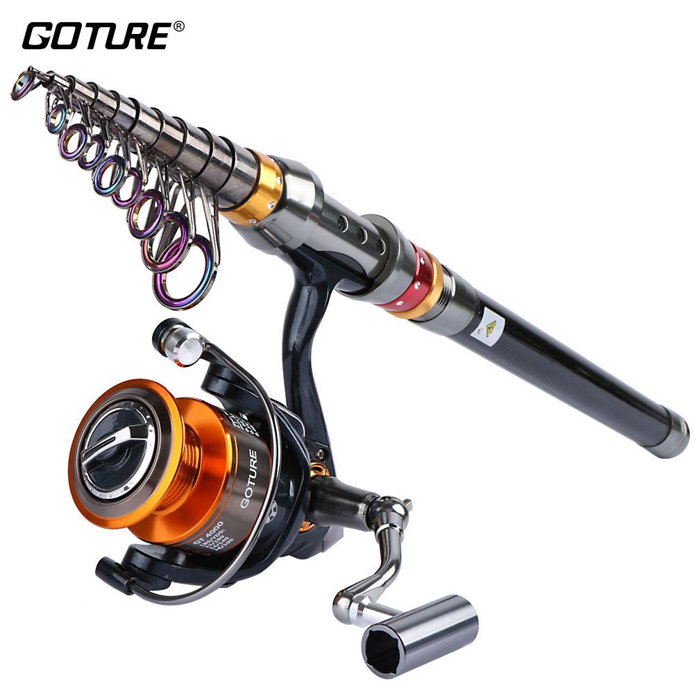 Goture Fishing Reel And Rod Set <font><b>2.7m</b></font> 3.0m 3.6m Telescopic Fishing Rod + 11BB Spinning Reel GT 4000 Combo