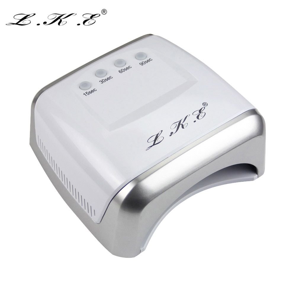 LKE 60W White LED UV Lamp Nail Dryer 365-405nm Gel Polish Curing Machine with Timer Auto-induction Nail Art Manicure Tool Gift