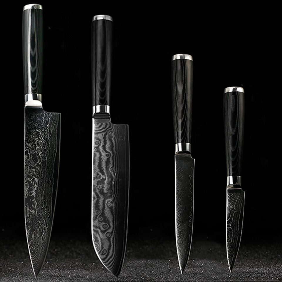 FINDKING Damascus knives set 8 inch chef knife 7.5 inch santoku 5 inch utility 3.5