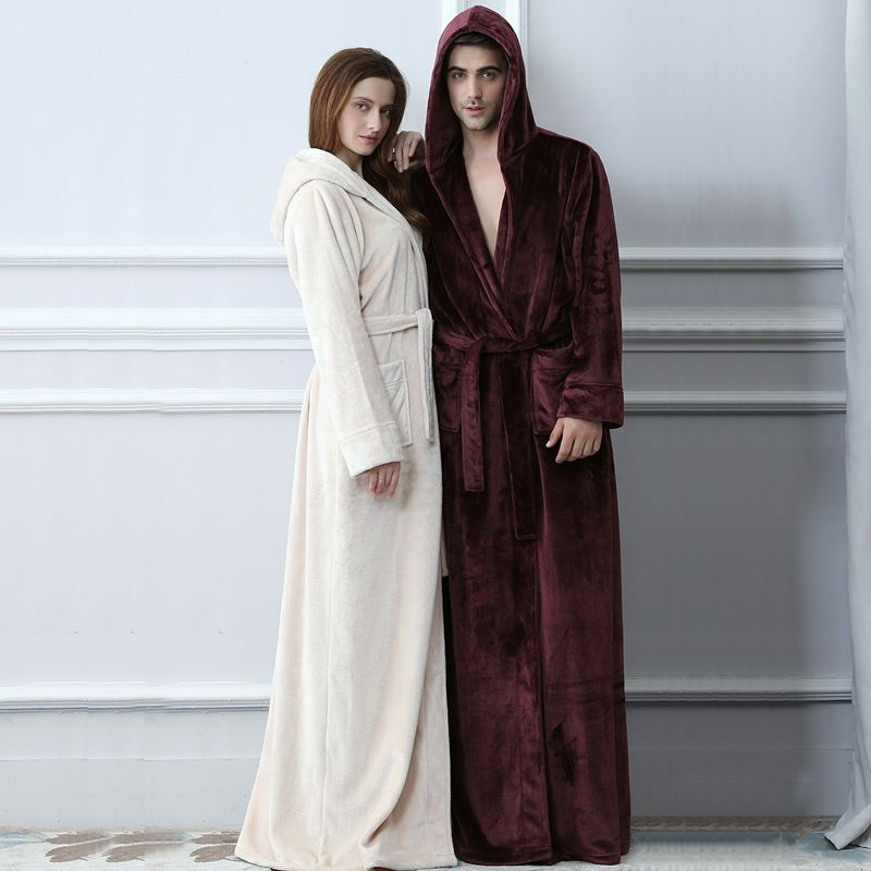 Lovers Plus Size Hooded extra Long Flannel Warm Bathrobe Men Women Thickening Winter Kimono Bath Robe Male Dressing Gown Robes