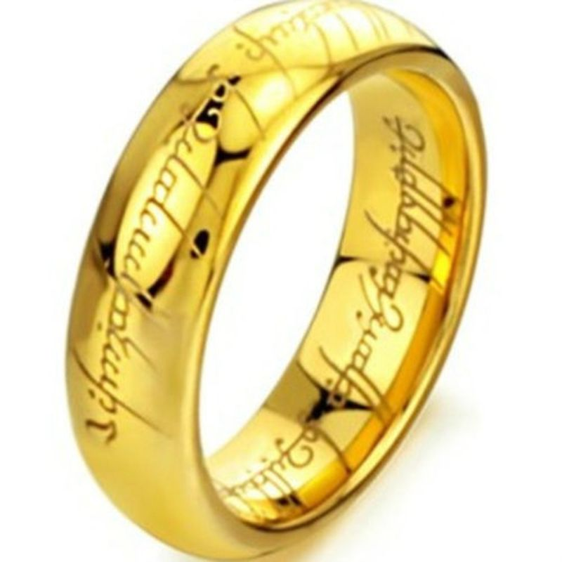 6MM Size 7 -15Gold Plated Tungsten Carbide LOTR Lord of Ring Band Wedding Engagement  Cocktail Husband Father Gifts