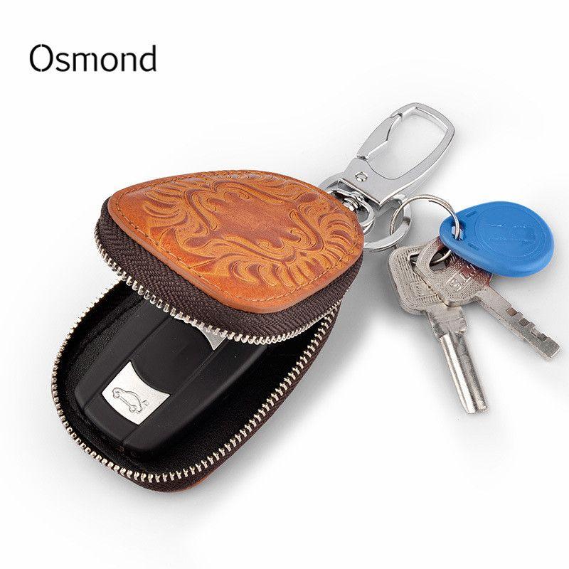 Osmond hommes femmes en cuir véritable voiture porte-clés femme de ménage pour hommes rétro multifonctionnel maison porte-clés Case femme porte-clés