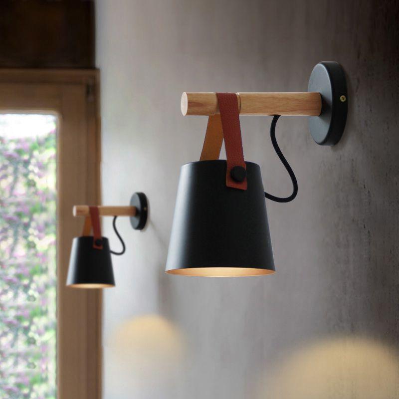 LED Wall Light Wood Wall Lamp Bed Bedside Light Night Lights Modern Nordic Lampshade Home Decor White & Black Belt E27 85-265V