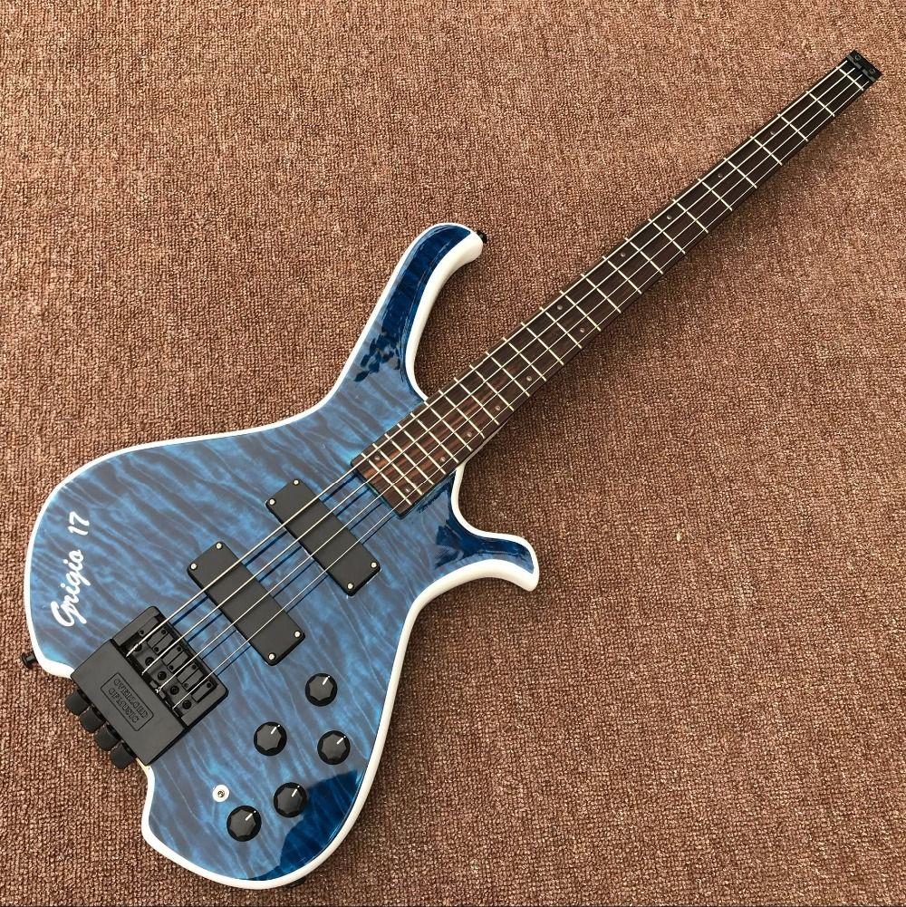 CUSTOM SHOP maple top BASS electric guitar personality bass guitar Factory direct sales,Shaped guitar,blue