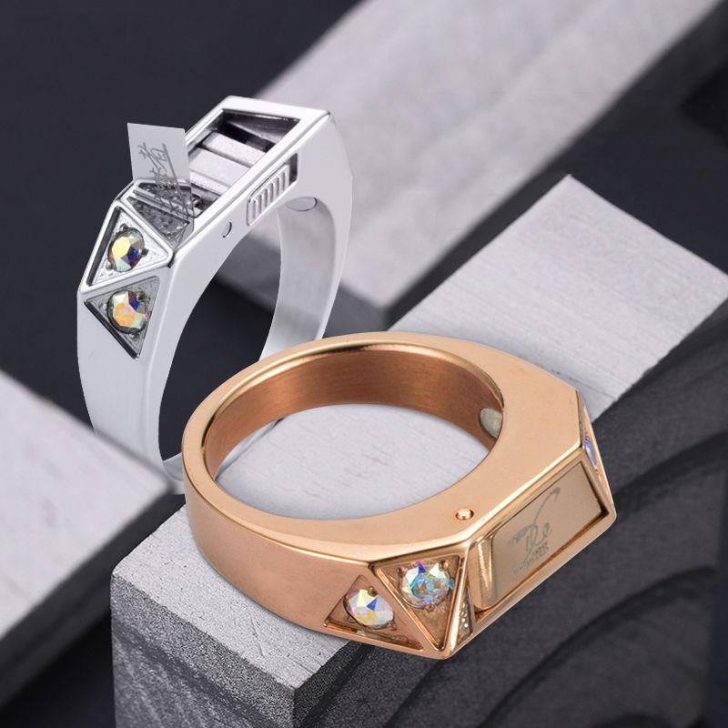 Titan stahl körper Selbstverteidigung schutz ring inlay diamant persönlichkeit unsichtbare messer ring verdeckte waffe weibliche artefakt