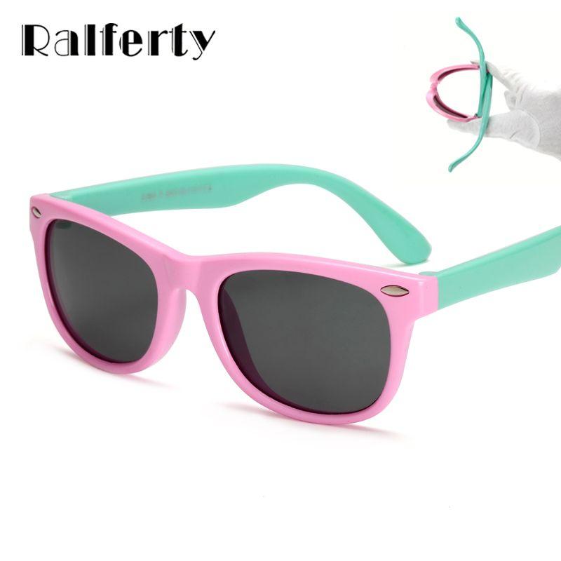 Ralferty TR90 Гибкие Дети Солнцезащитные очки для женщин поляризационные ребенок Детская безопасность покрытие Защита от солнца Очки UV400 очки От...