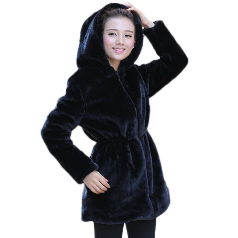 2017 Women Faux Fur Coat Casual Slim Winter Long Faux Mink Jacket With Hood Black Solid Coats Thick Warm Outwear DX635