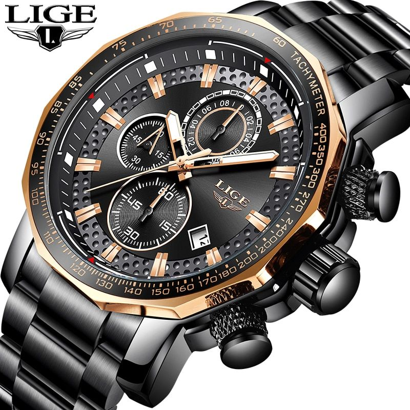 LIGE Gold Watch Men Top Brand Luxury Waterproof Calendar Wristwatch Gents Business Casual Stainless Steel Analogue Men Watches