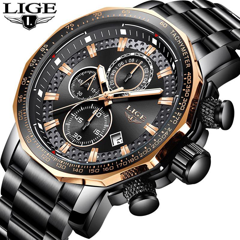LIGE Gold Watch Men Top Brand Luxury Waterproof Calendar Wristwatch Gents Business Casual Stainless Steel Analogue Men Watches