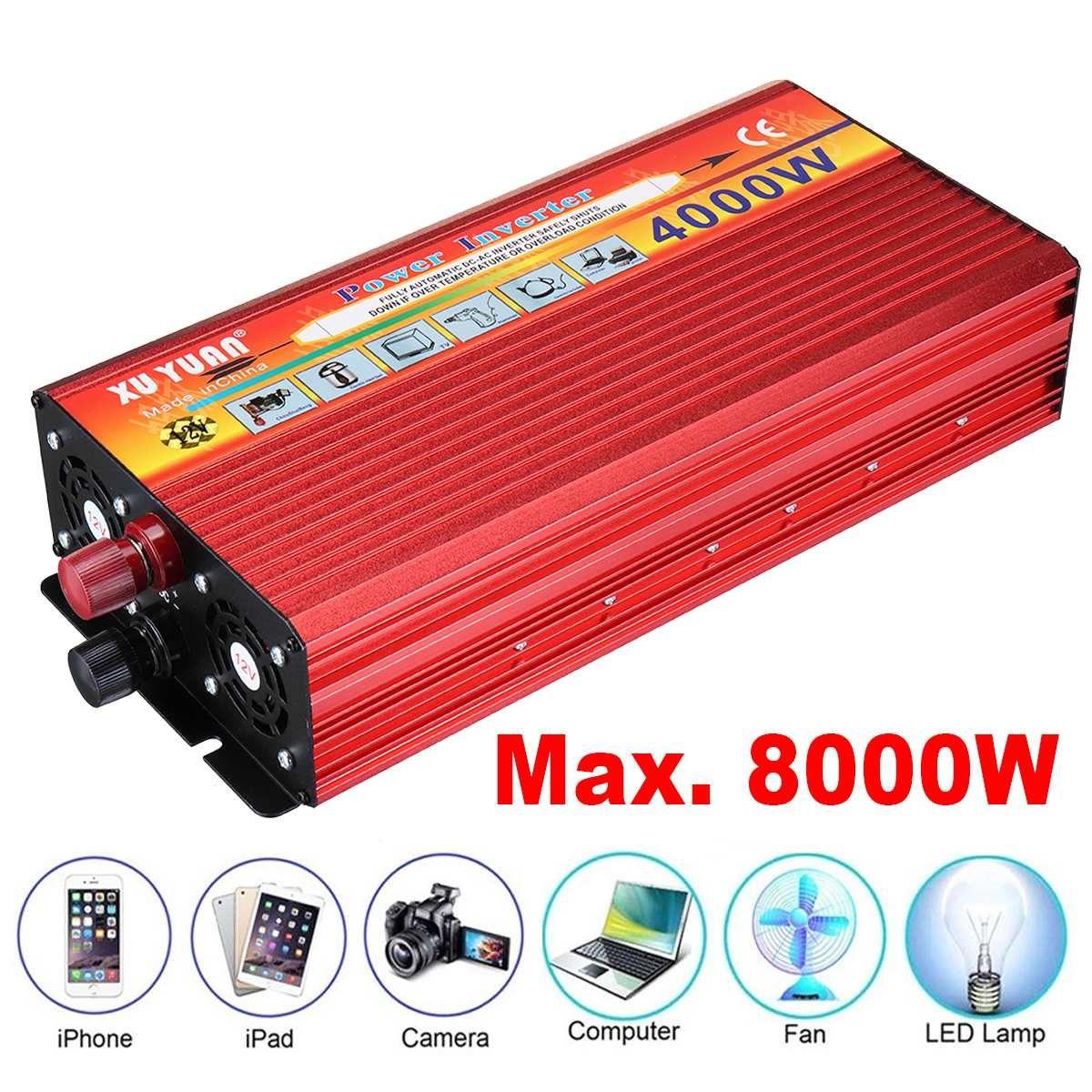 New 4000W Portable Max Power Inverter Car Converter Charger DC 12V To 110V 240V AC USB Vehicle Power Supply Converter