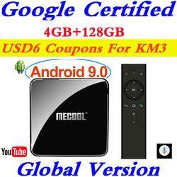 Google Certified Androidtv 9.0 MECOOL KM3 TV Box Android 9.0 4GB RAM 64GB 128GB Amlogic S905X2 4K Voice 5G Wifi KM3 ATV