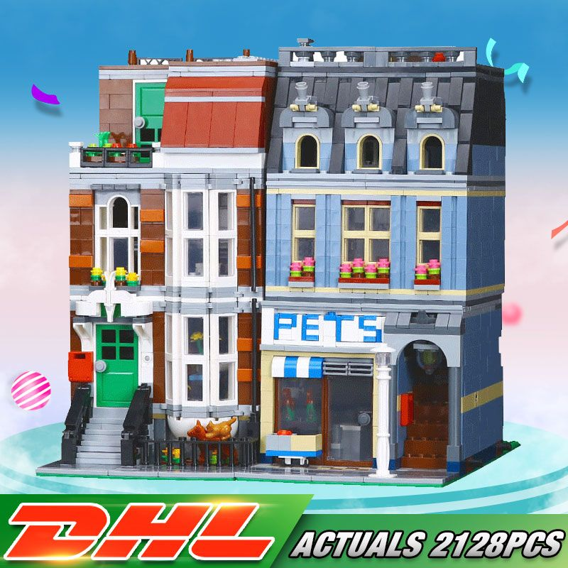 2019 DHL City Series Pet Shop Supermarket Model City Street Building Blocks Educational Toys For Children