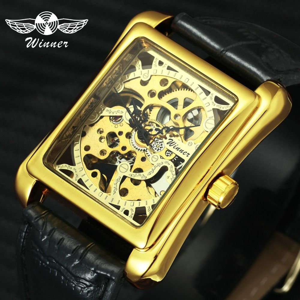 WINNER <font><b>Retro</b></font> Ladies Mechanical Watch Women Wristwatches Skeleton Rectangle Watches Leather Strap Gift +BOX