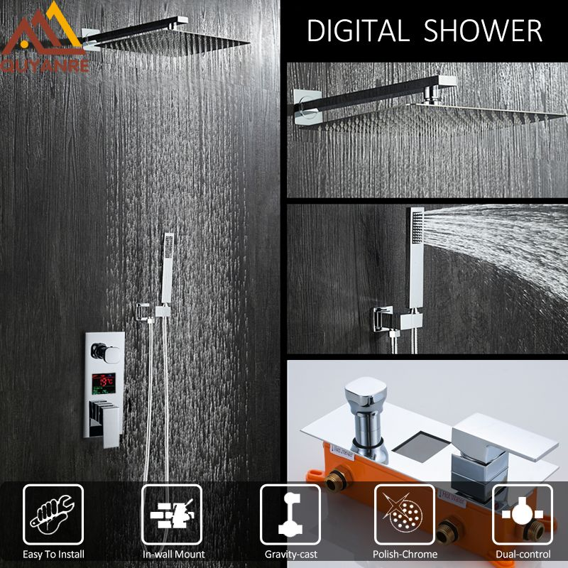 Quyanre Concealed Chrome Shower Faucets Set Rain Shower Head Digital Temperature Display Mixer Tap Bathroom Shower Faucets Set