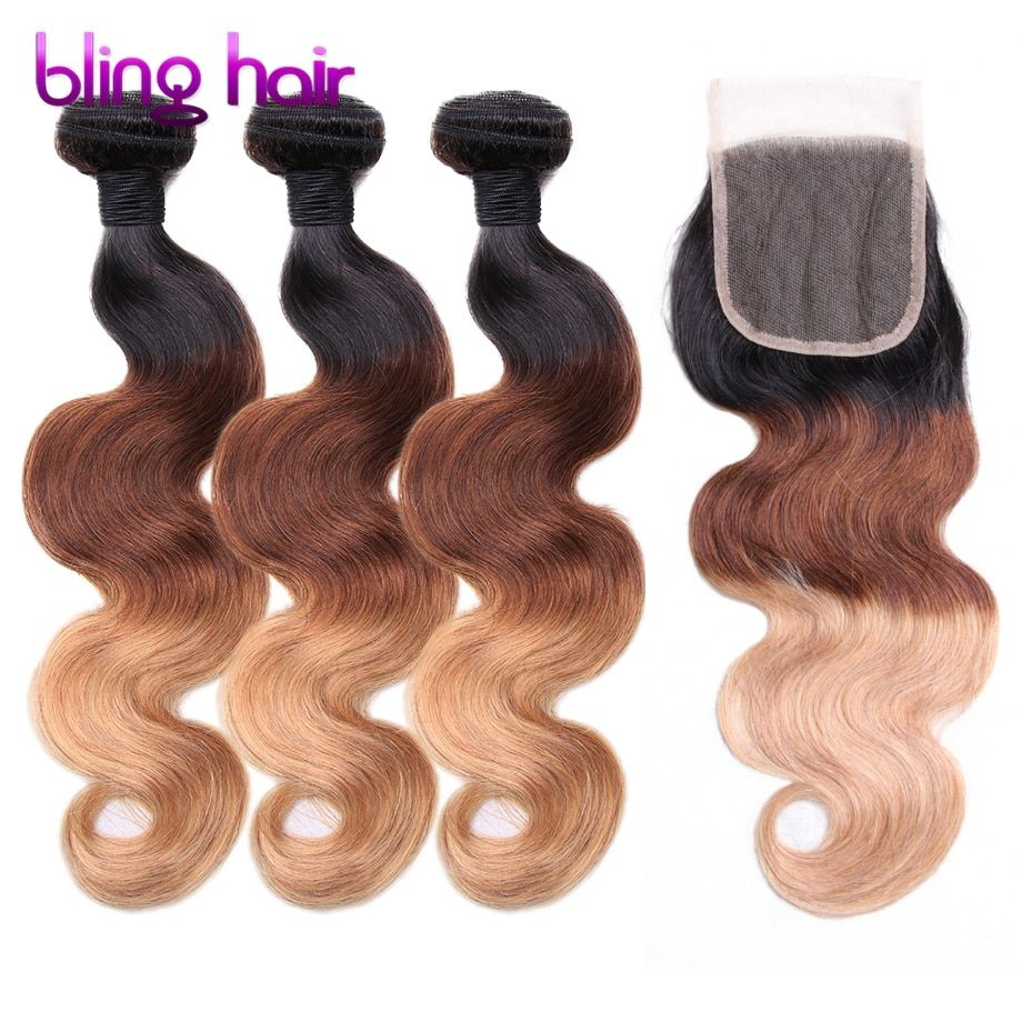 Bling Hair Ombre Brazilian Body Wave 3 Bundles With 4x4 Lace Closure #1b/4/27 Ombre Remy Human Hair for Salon Hair Extension