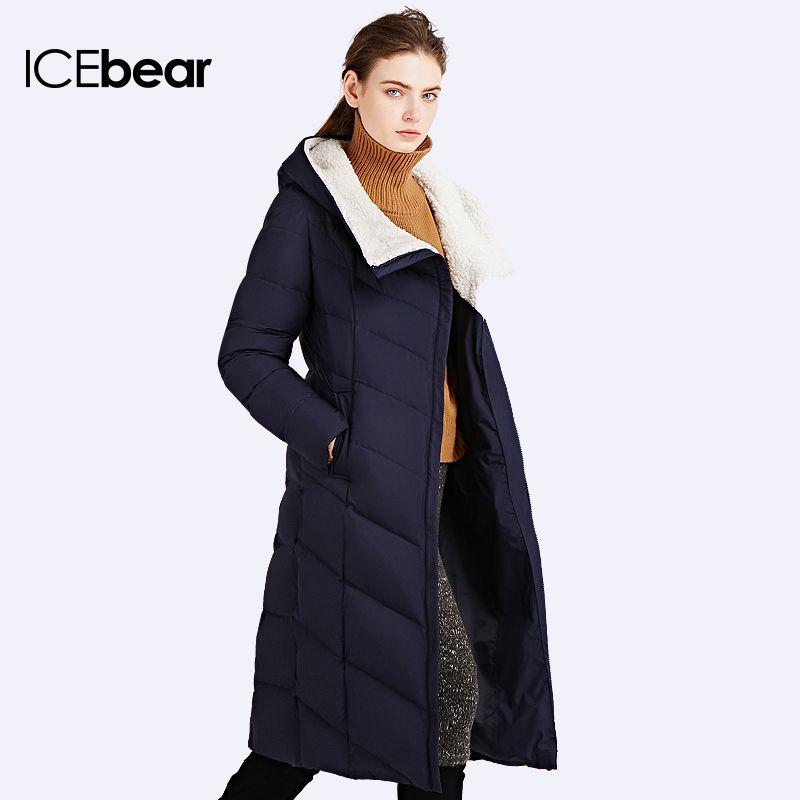 ICEbear 2017 Winter Autumn Jacket Women Padded Coat Winter Slim Long Coat Three Colors Thick Parkas 16G661D