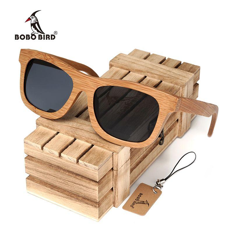 BOBO BIRD Vintage Lunettes de Soleil En Bois De Bambou Polarisées À La Main Miroir Lunettes De Mode lunettes de sport dans une Boîte En Bois