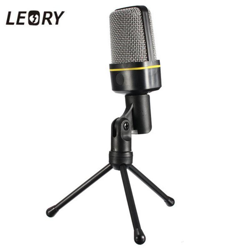 Leory настольный микрофон 3.5 мм Jack конденсаторный микрофон проводной Studio MIC с подставкой держатель зажим для портативных ПК Микрофоны