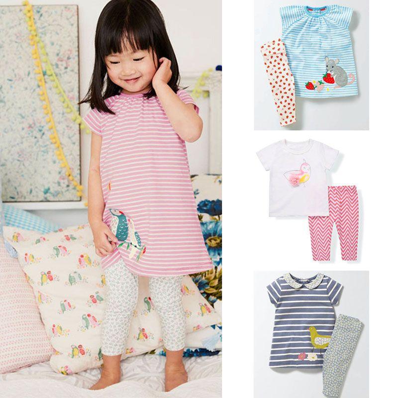 New 2018 Quality 100% Cotton Summer Baby Girls Clothing Set <font><b>2pcs</b></font> Children Suit Kids Clothes Short Sleeve Baby Girls Clothes Sets