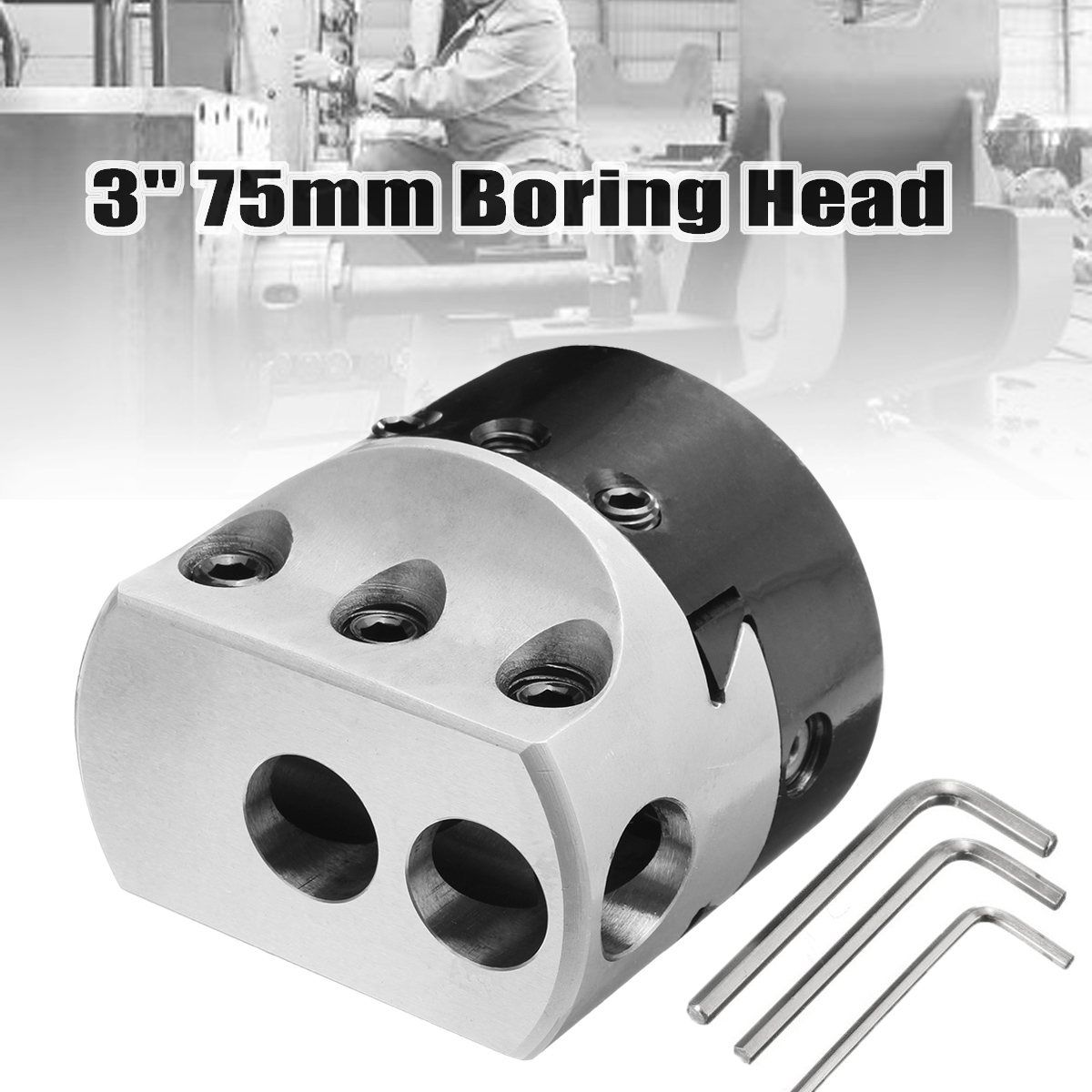 New 3'' 75mm Boring Head Lathe Milling Tool Holder +3 Wrench for 3/4'' Hole Boring Cut