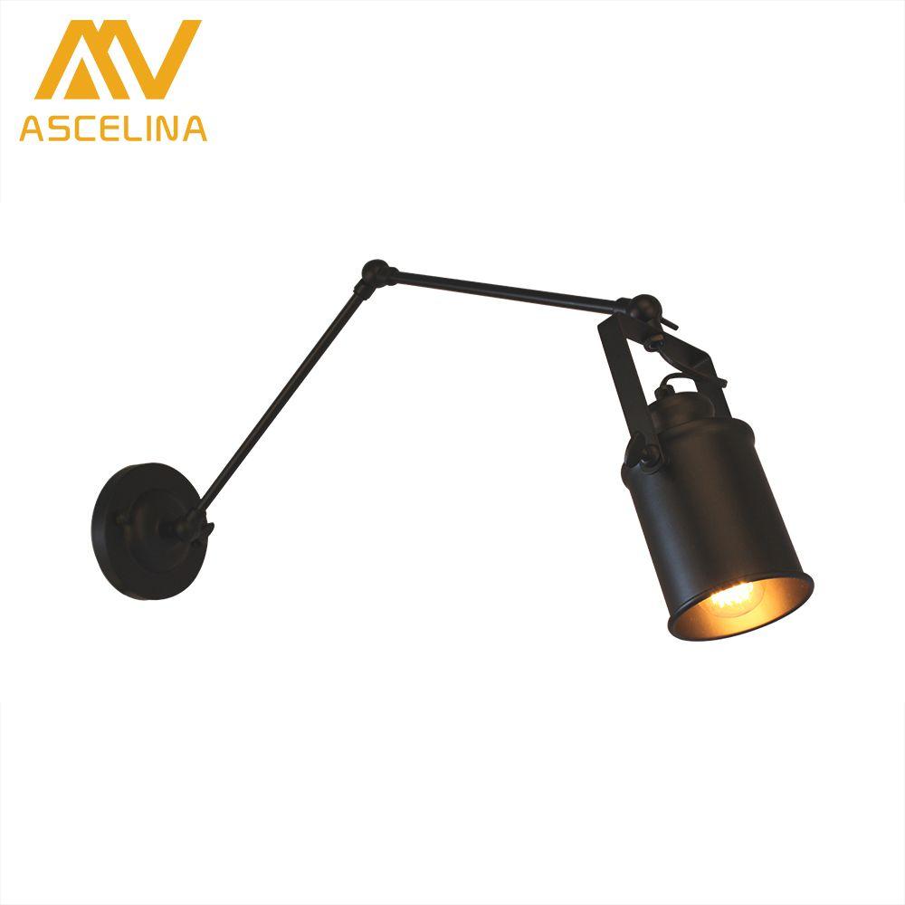 Amerikanischen Loft Wandleuchte ASCELINA Lange Swing Arm Wandleuchten Einstellbare Metall Led Wandleuchte hause beleuchtung für Schlafzimmer/Restaurant