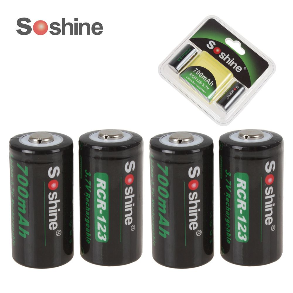 4pcs/set Soshine Li-ion RCR 123 16340 700mAh <font><b>3.7V</b></font> Rechargeable battery Lithium Li-ion battria + 2 Battery Case Storage Box