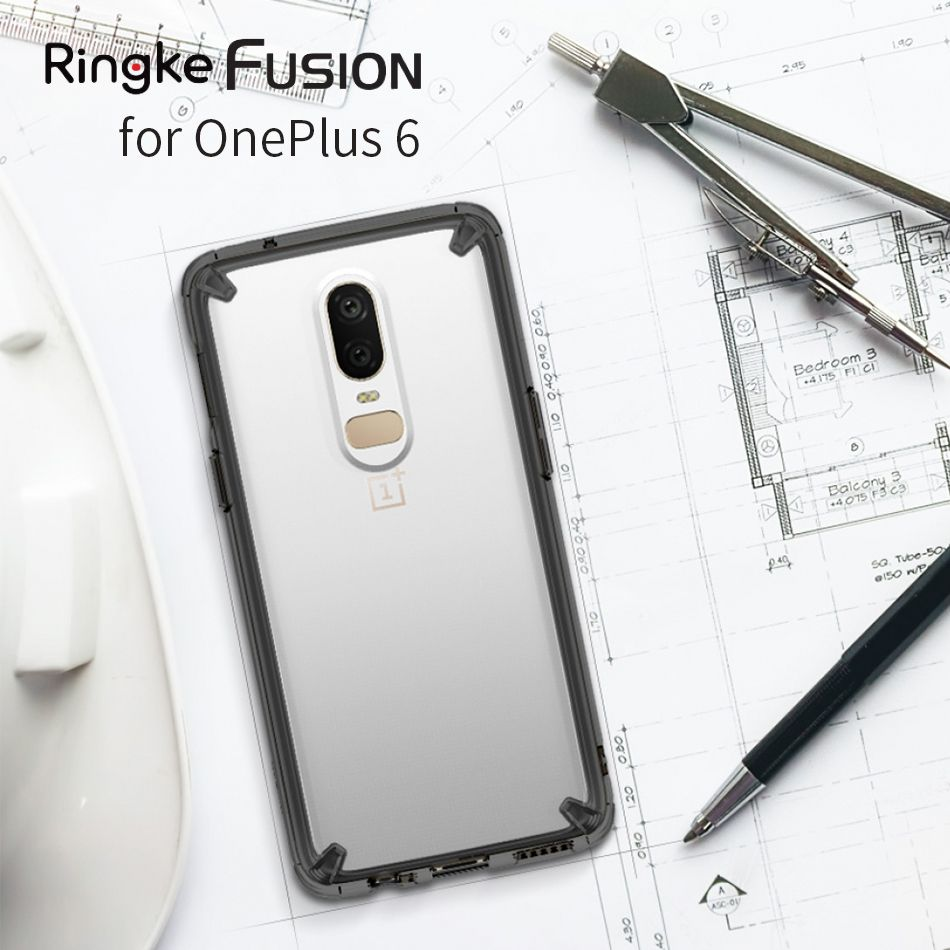 Original Ringke Fusion Clear PC Back Flexible TPU Edge Shock Absorption Drop Resistance Case For OnePlus 6