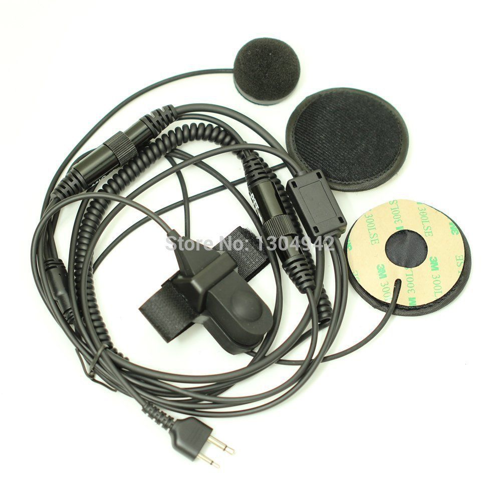 Full Face Motorcycle Bike Helmet Earpiece Headset Mic Microphone 2-pin for Icom Maxon Yaesu Vertex Radio free shipping