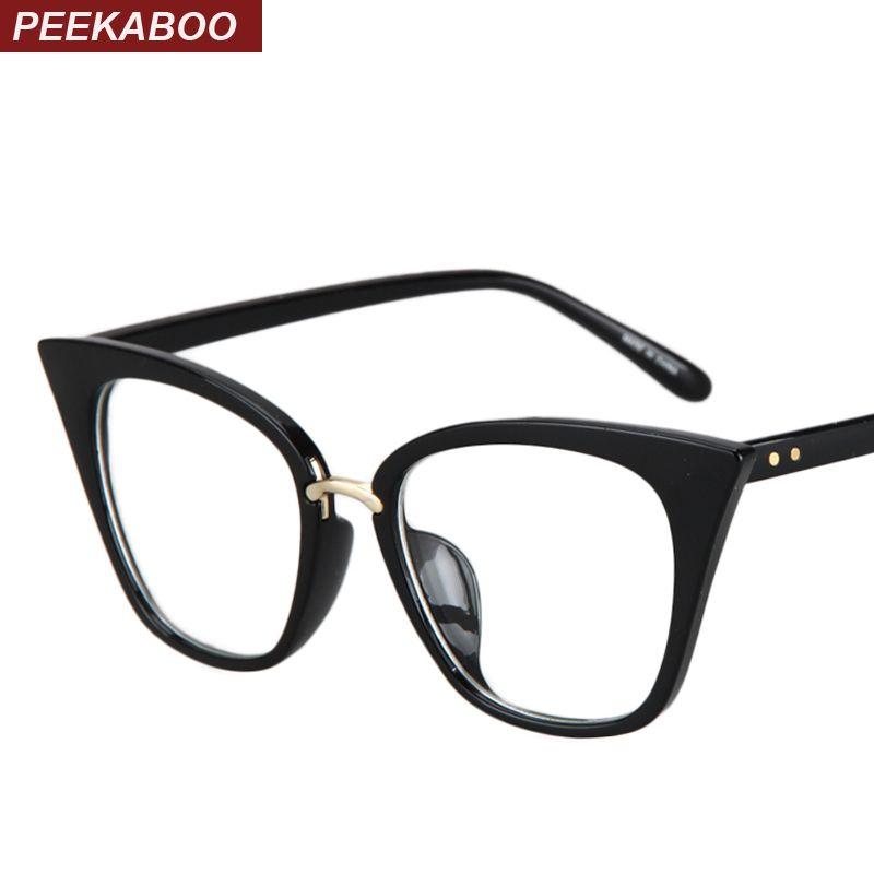 Peekaboo New 2017 fashion cat eye glasses frames optical brand design vintage cat eye eyeglasses frame women clear black leopard