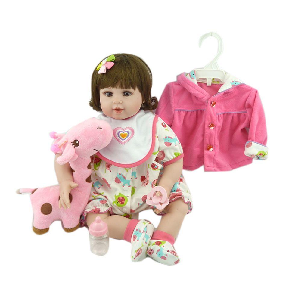Así que Realmente 20 ''Princesa Muñeca Desgaste Chaqueta de Color Rosa 50 cm Realista Bonecas Muñecas Reborn Bebés de Silicona Seguro Menina Suave Juguetes Regalos de Navidad