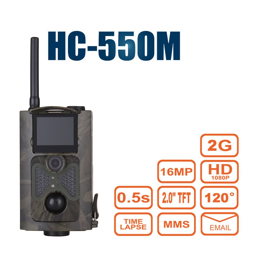 HC550M Wild Hunting Camera Hunter Game Trail Trap 2G GPRS MMS SMTP/SMS 12MP 1080P PIR Sensor 120 Degrees Wildlife Camera
