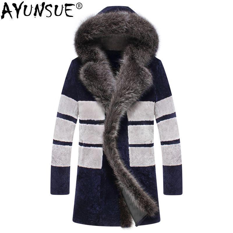 AYUNSUE Sheep Shearling Real Fur Coat Men Winter Jacket Hooded Big Racoon Fur Collar Men's Natural Fur Warm Luxury Jackets KJ850