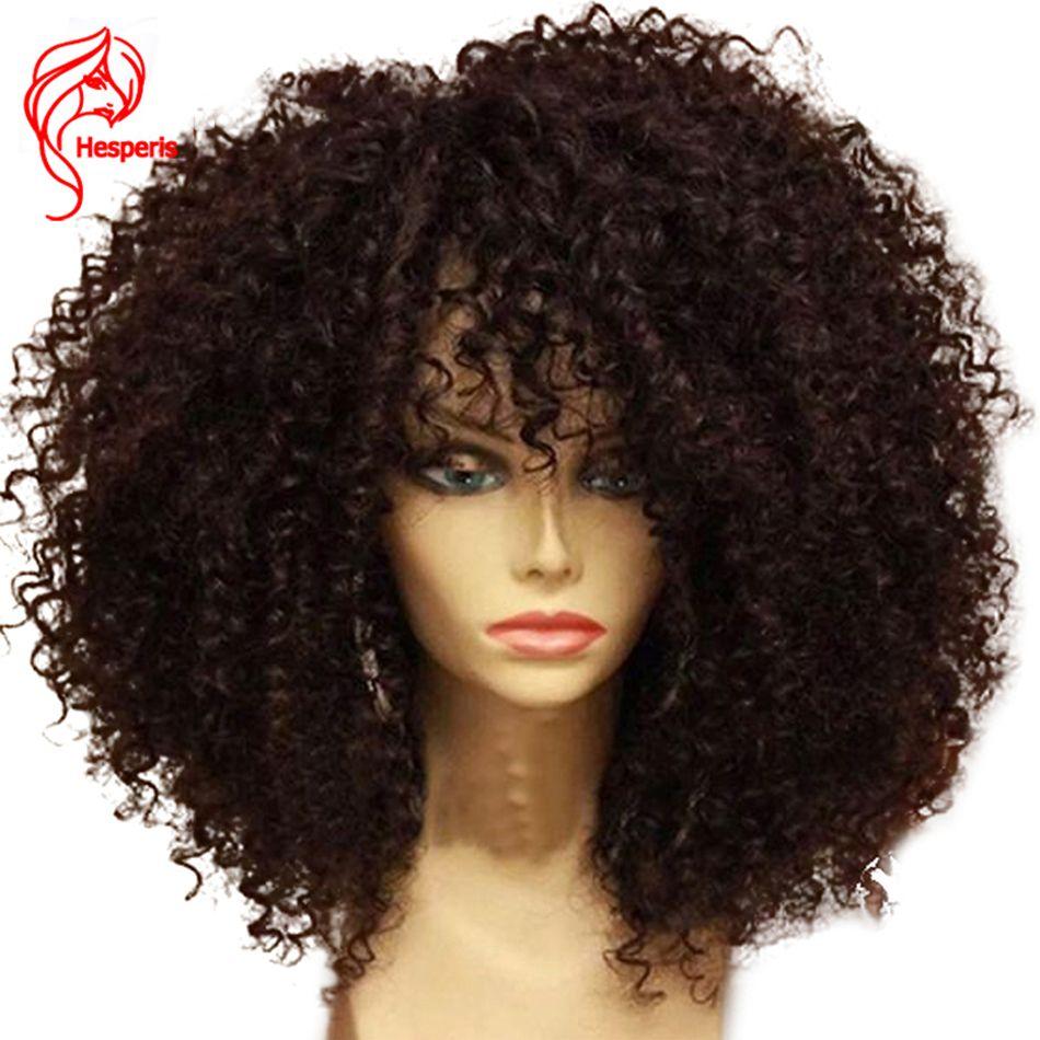 Hesperis Afro Crépus Bouclés Pré Pincées Dentelle Avant de Cheveux Humains Perruques avec Bébé Cheveux Pour Femmes Noires 130 denistity Brésilien Dentelle Perruque
