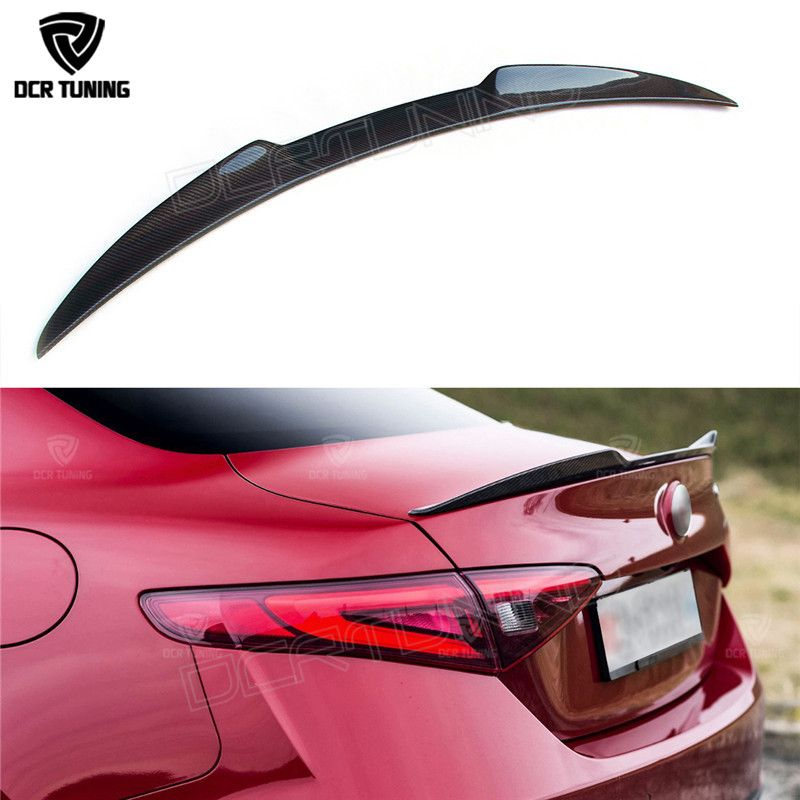 For Alfa Romeo Giulia Spoiler Carbon Fiber Rear Trunk Spoiler Black Finish Quadrifoglio Verde QV Style 2015 - UP
