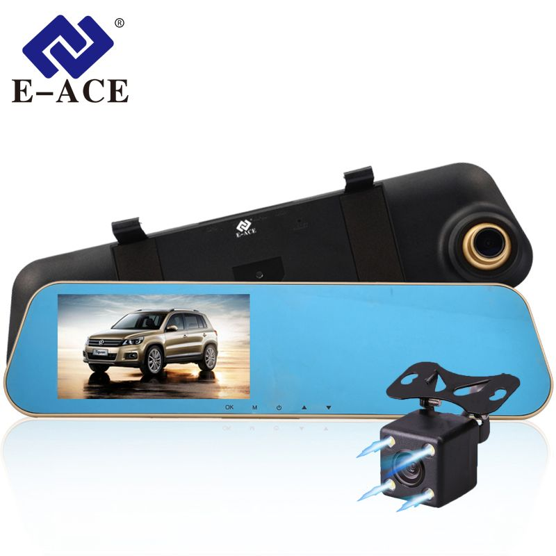 E-ACE Car Dvr Auto Digital Video Recorder Rear <font><b>View</b></font> Mirror With Camera FHD 1080P Dashcam Dual Lens Parking Monitor Registrator