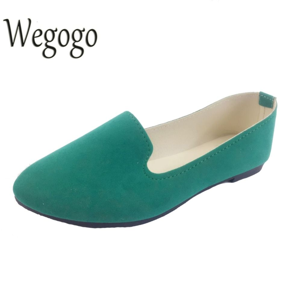 Wegogo Plus Size Shoes Women Flats Candy Color Woman Loafers Spring Autumn Flat Shoes Women Zapatos Mujer Summer Shoes Size35-43