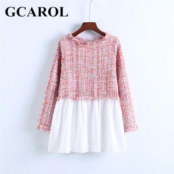 Gcarol Новый твид с Для женщин Пот длинный рукав с круглым вырезом двухцветный Цветной верхняя одежда для Весна-осень-зима