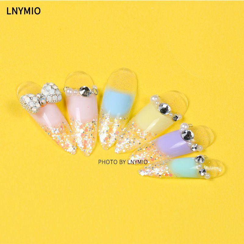Bonbons très longue décoration faux ongles rose jaune bleu violet poudre ongles conseils avec poudre arc perle & perceuse