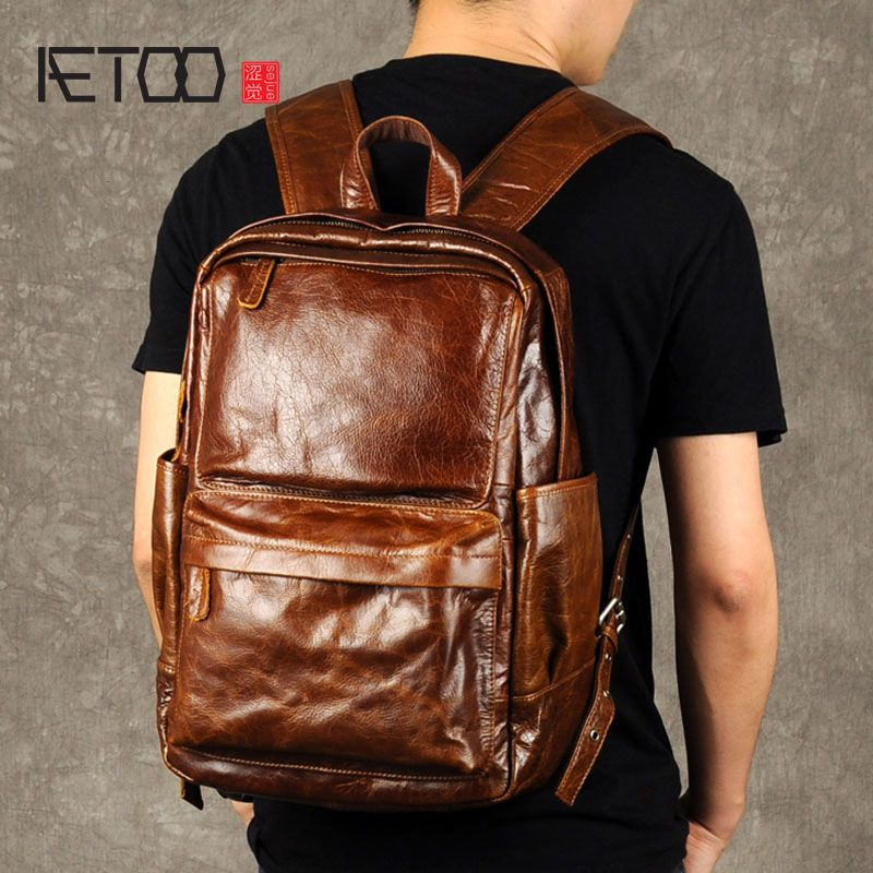 AETOO Retro oil wax backpack male leather bag trend of Baotou leisure computer layer of leather backpack