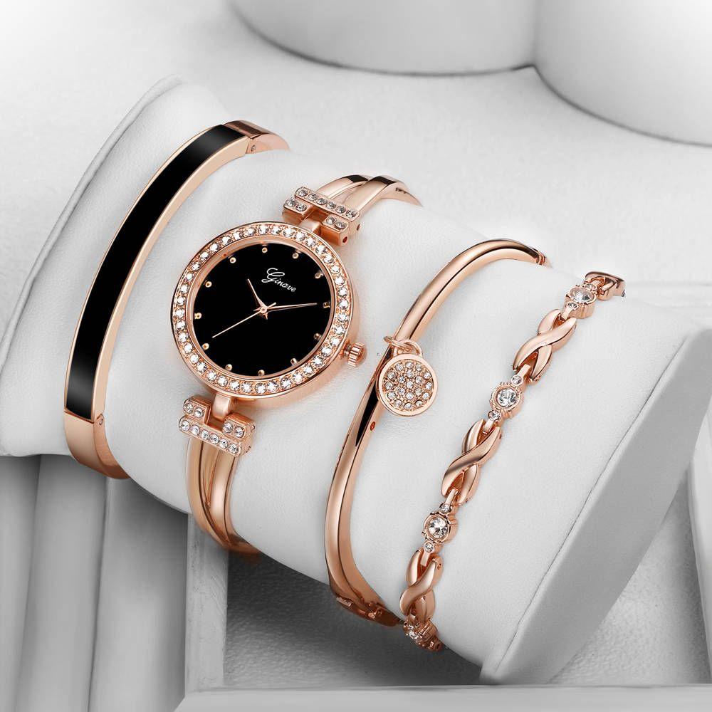 4 pièces ensemble montre Ginave femmes or Rose diamant Bracelet montre de luxe bijoux dames femme fille heure décontracté Quartz montres