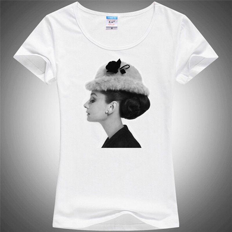 Femmes T-shirt 3d Audrey Hepburn femme T-shirt col rond manches courtes élégant Illustration ladys t-shirts 3d femme t-shirts 415 #