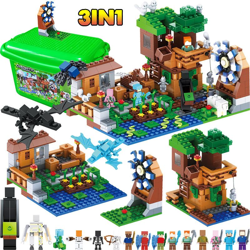 Technic Building Blocks My World Creator LegoINGLYS Minecrafted Windmill station Village DIY Bricks Toys For Children 3 in 1