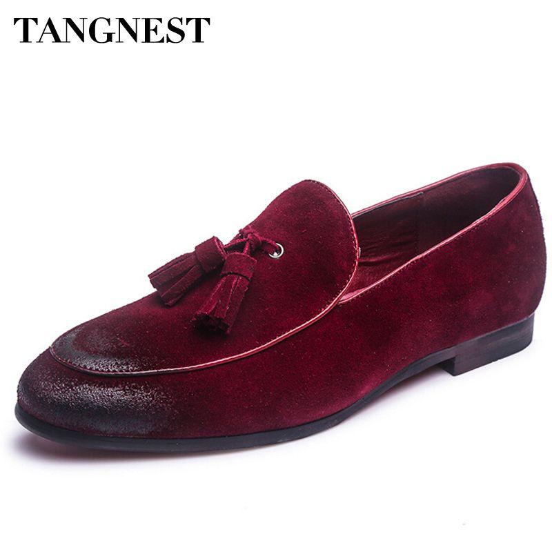 Tangnest Verano Más Nuevos Hombres Zapatos de Cuero Genuinos Borla de La Manera de Los Hombres cuñas Zapatos Resbalón de Hombre Sólido Zapato de Conducción 4 Colores XMR2101