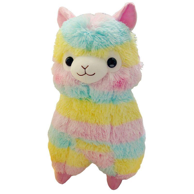 20 cm doux coton arc-en-ciel alpaga peluche peluche poupée arc-en-ciel cheval Lama animaux jouets pour enfants anniversaire cadeaux de noël
