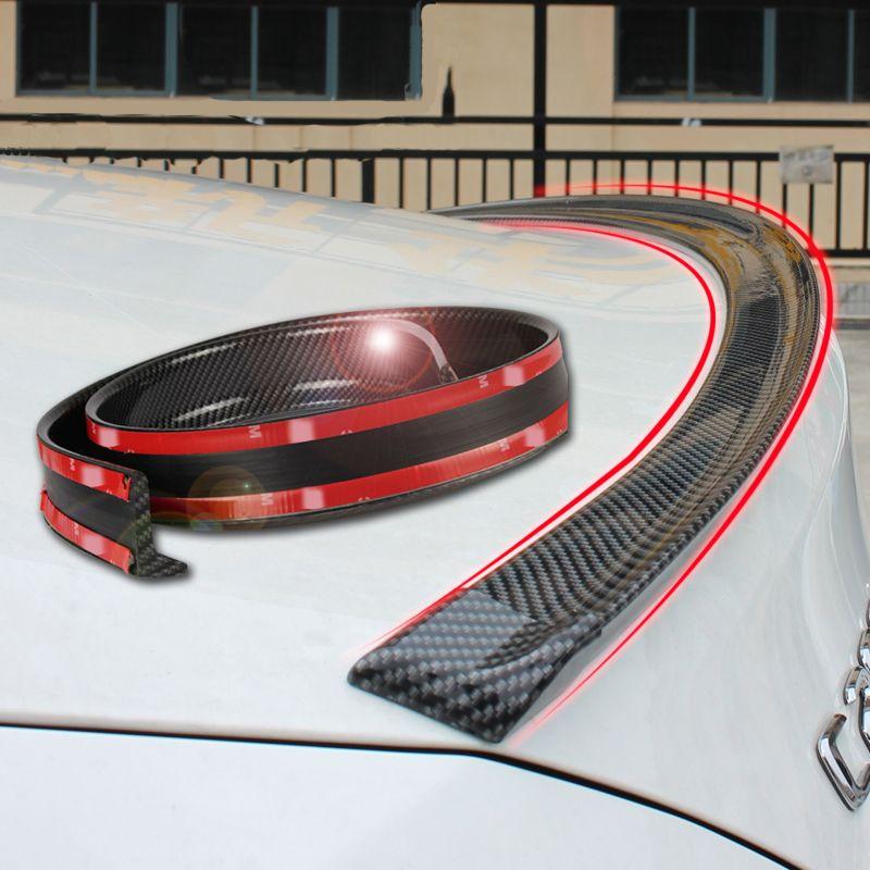 Spoiler universel 1.5 M Voiture de Coiffure 5D carbone en caoutchouc queue spoiler PU brasage de carbone BRICOLAGE carénage spoiler adapté par tous les types de voiture