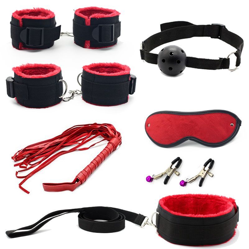7 Pcs Bondage Set Cotton Red,BDSM Restraint Sex Toys for <font><b>Couple</b></font> Handcuffs Sexy Mark Whip Collar for Adult Slave Game Sex Product