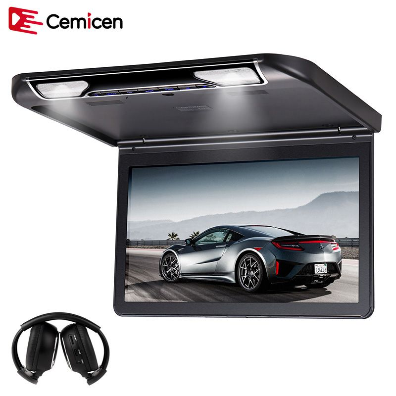 Cemicen 13.3 Inch Car Ceiling Flip Down Roof Mount Monitor with Full 1920*1080 Screen MP5 Player HDMI USB SD IR FM Transmitter
