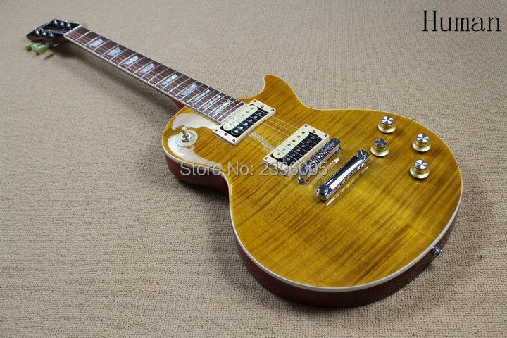 Hot Sale lp standard electric guitar tiger maple cover slash guitar signature limited issued high quality real guitar PICS