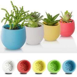 2018 Newest Hot Cute Mini Colourful Round Plastic Plant Flower Pot Garden Home Office Decor Planter