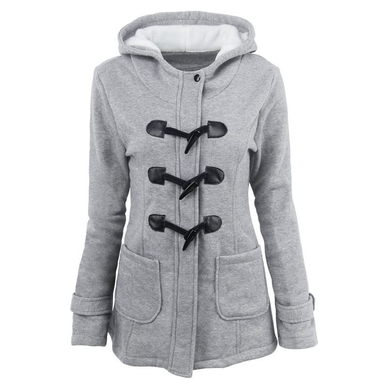 2019 Spring New Women Jacket Fashion Slim Cotton Blend Horns Buckle Pile Coating Parka Coat Plus Size S-6xl Hoodies Parka